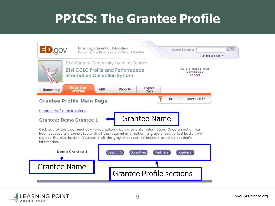 9 PPICS: The Grantee Profile Grantee Name Grantee Profile sections
