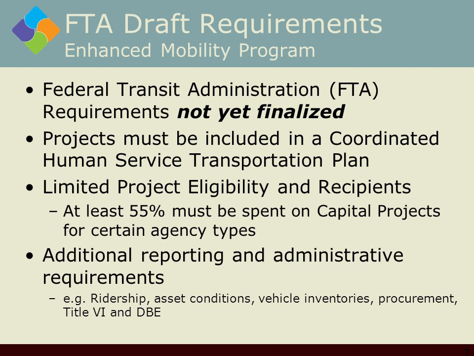 FTA Draft Requirements Enhanced Mobility Program Federal Transit Administration (FTA) Requirements not yet finalized Projects must be included in a Coordinated Human Service Transportation Plan Limited Project Eligibility and Recipients –At least 55% must be spent on Capital Projects for certain agency types Additional reporting and administrative requirements –e.g.