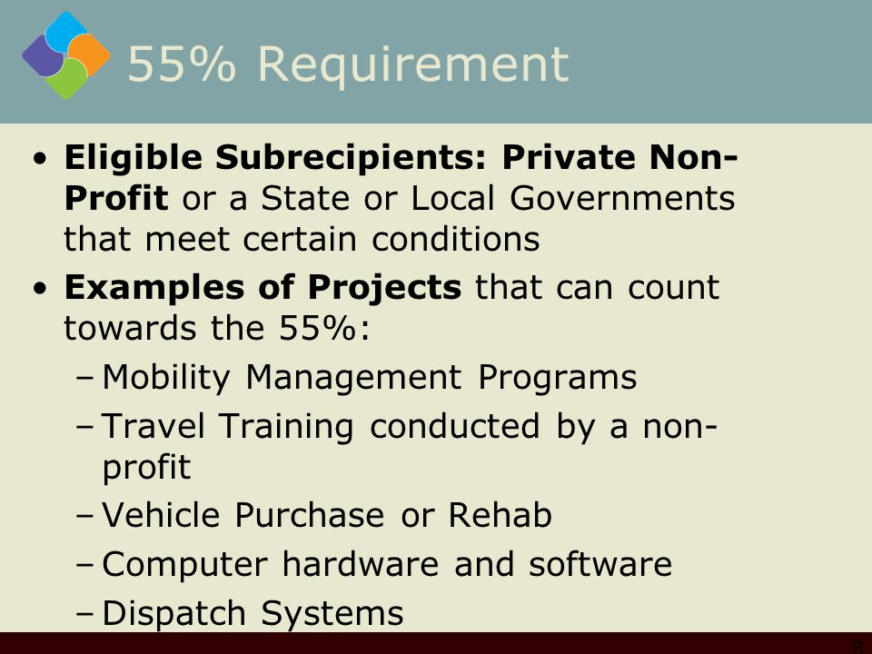 55% Requirement Eligible Subrecipients: Private Non- Profit or a State or Local Governments that meet certain conditions Examples of Projects that can count towards the 55%: –Mobility Management Programs –Travel Training conducted by a non- profit –Vehicle Purchase or Rehab –Computer hardware and software –Dispatch Systems 8