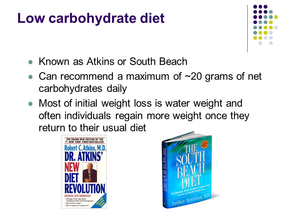 Low carbohydrate diet Known as Atkins or South Beach Can recommend a maximum of ~20 grams of net carbohydrates daily Most of initial weight loss is water weight and often individuals regain more weight once they return to their usual diet
