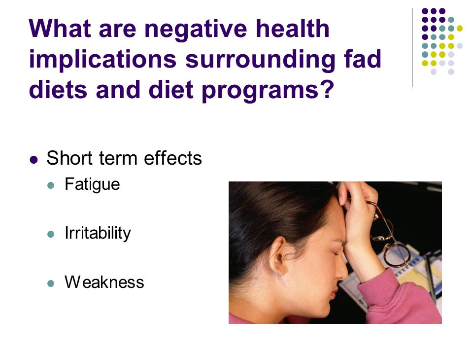 What are negative health implications surrounding fad diets and diet programs.