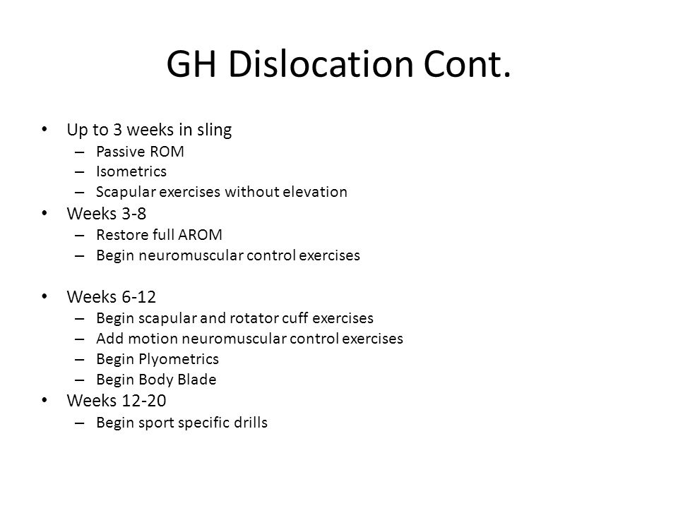 GH Dislocation Cont.