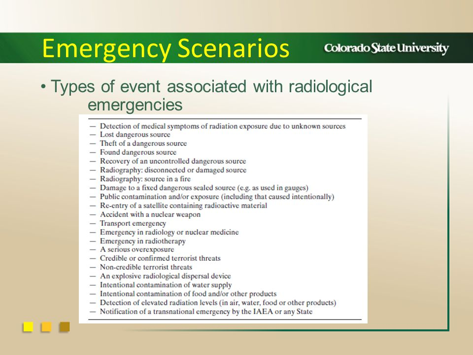 Types of event associated with radiological emergencies Emergency Scenarios