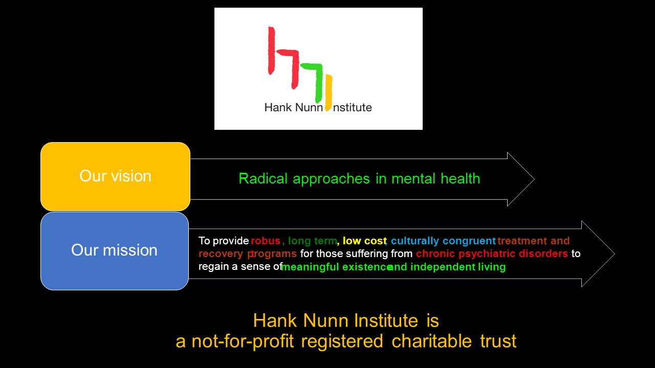 Hank Nunn Institute is a not-for-profit registered charitable trust Radical approaches in mental health Our vision To provide treatment and recovery programs for those suffering from chronic psychiatric disorders to regain a sense of Our mission meaningful existenceand independent living robus t, long term, low cost, culturally congruent