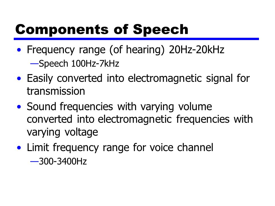 Components of Speech Frequency range (of hearing) 20Hz-20kHz —Speech 100Hz-7kHz Easily converted into electromagnetic signal for transmission Sound frequencies with varying volume converted into electromagnetic frequencies with varying voltage Limit frequency range for voice channel — Hz