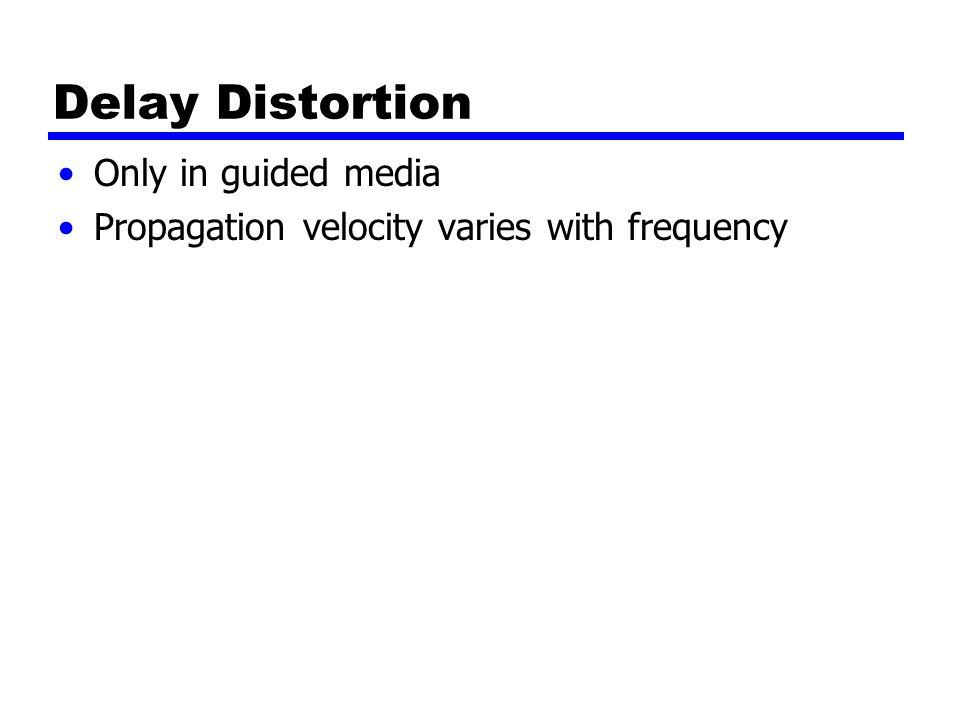 Delay Distortion Only in guided media Propagation velocity varies with frequency