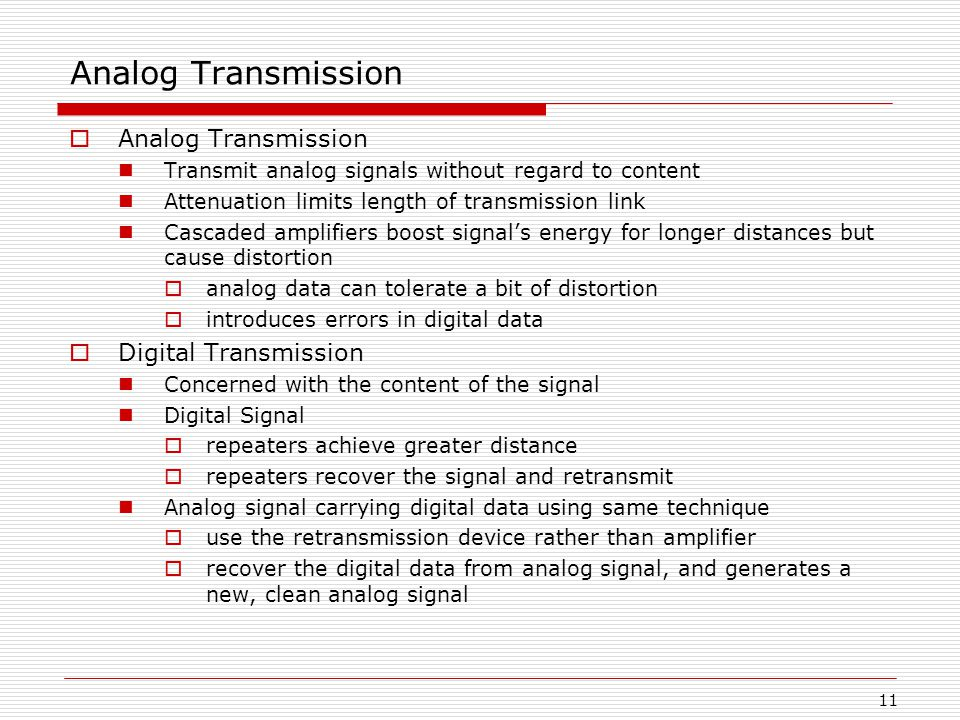 11 Analog Transmission  Analog Transmission Transmit analog signals without regard to content Attenuation limits length of transmission link Cascaded amplifiers boost signal's energy for longer distances but cause distortion  analog data can tolerate a bit of distortion  introduces errors in digital data  Digital Transmission Concerned with the content of the signal Digital Signal  repeaters achieve greater distance  repeaters recover the signal and retransmit Analog signal carrying digital data using same technique  use the retransmission device rather than amplifier  recover the digital data from analog signal, and generates a new, clean analog signal