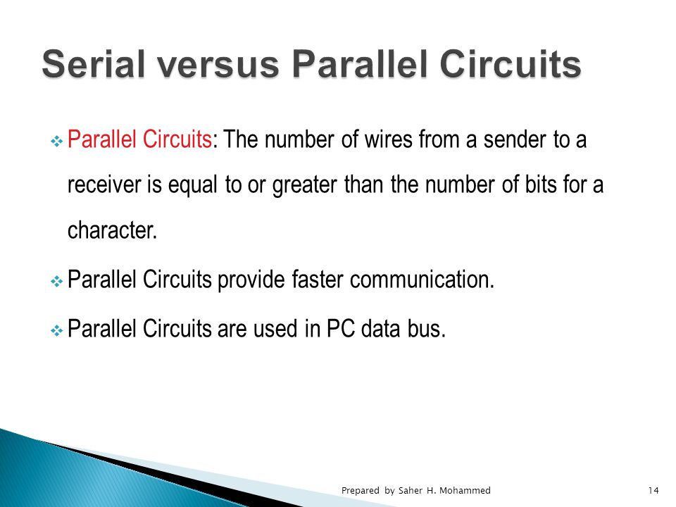  Parallel Circuits: The number of wires from a sender to a receiver is equal to or greater than the number of bits for a character.