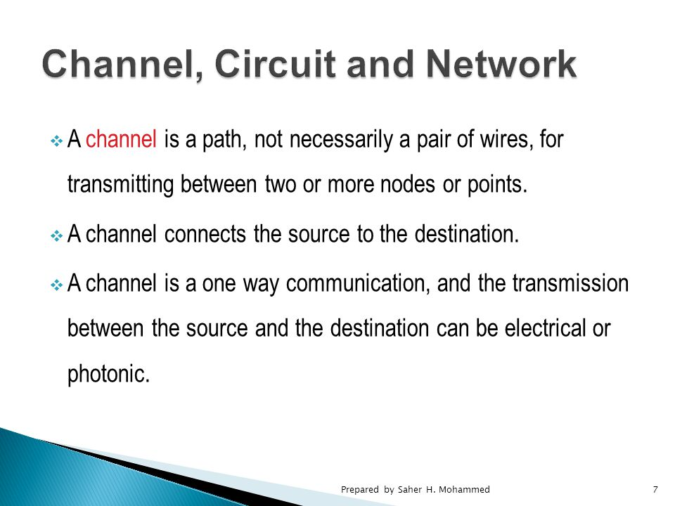  A channel is a path, not necessarily a pair of wires, for transmitting between two or more nodes or points.
