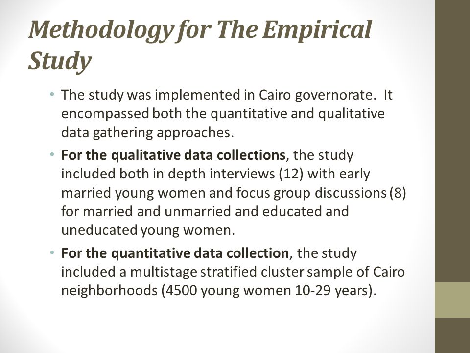 Methodology for The Empirical Study The study was implemented in Cairo governorate.