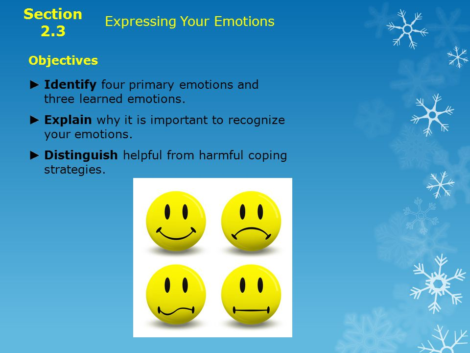 Objectives Identify four primary emotions and three learned emotions.