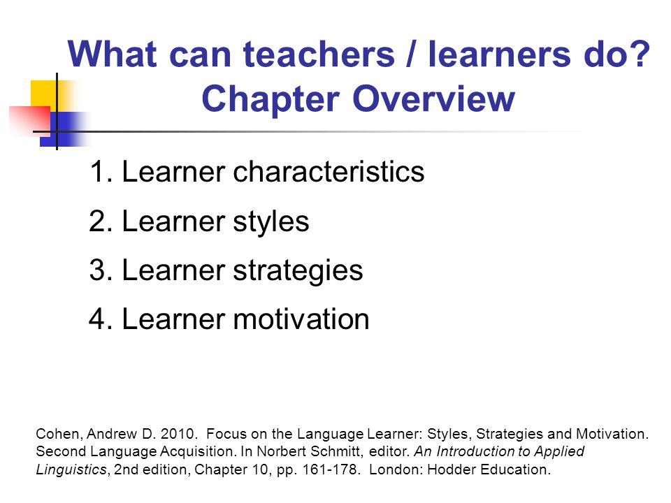 What can teachers / learners do. Chapter Overview 1.