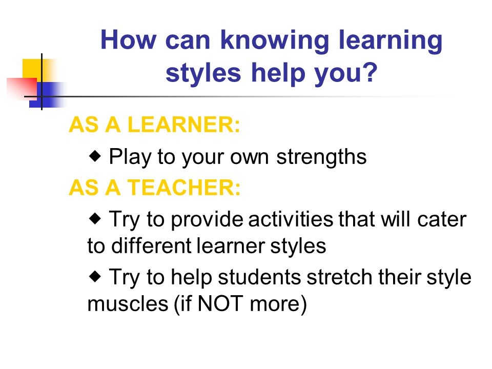 How can knowing learning styles help you.