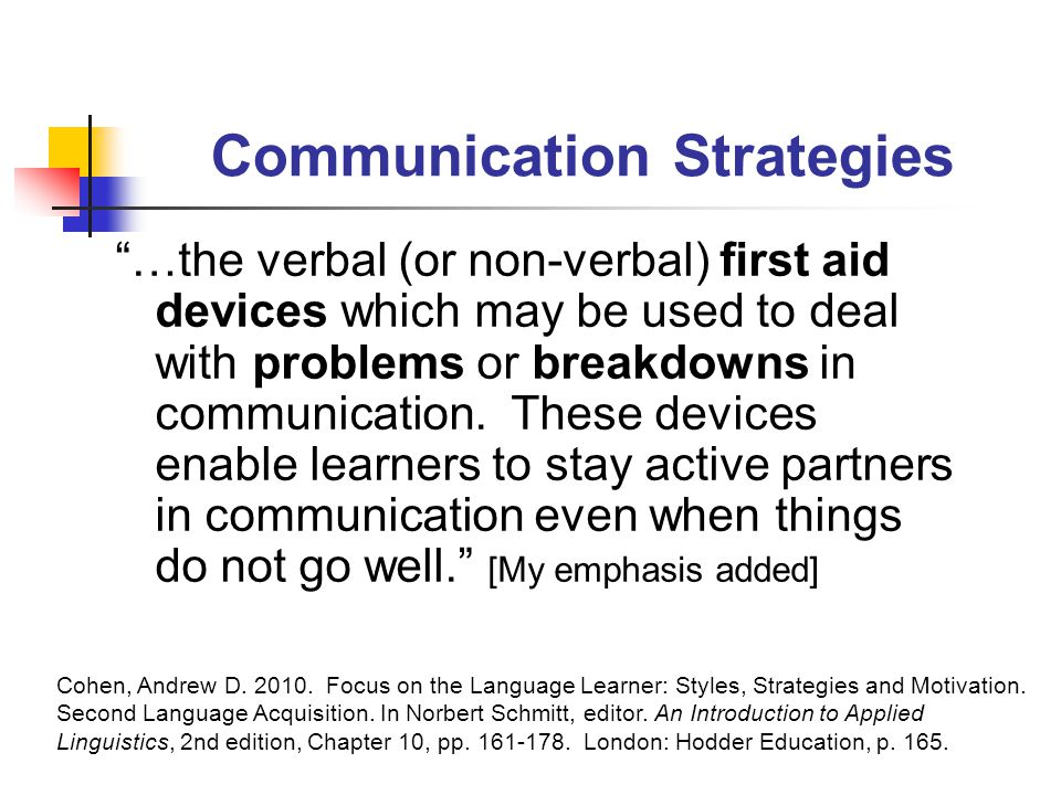 Communication Strategies …the verbal (or non-verbal) first aid devices which may be used to deal with problems or breakdowns in communication.