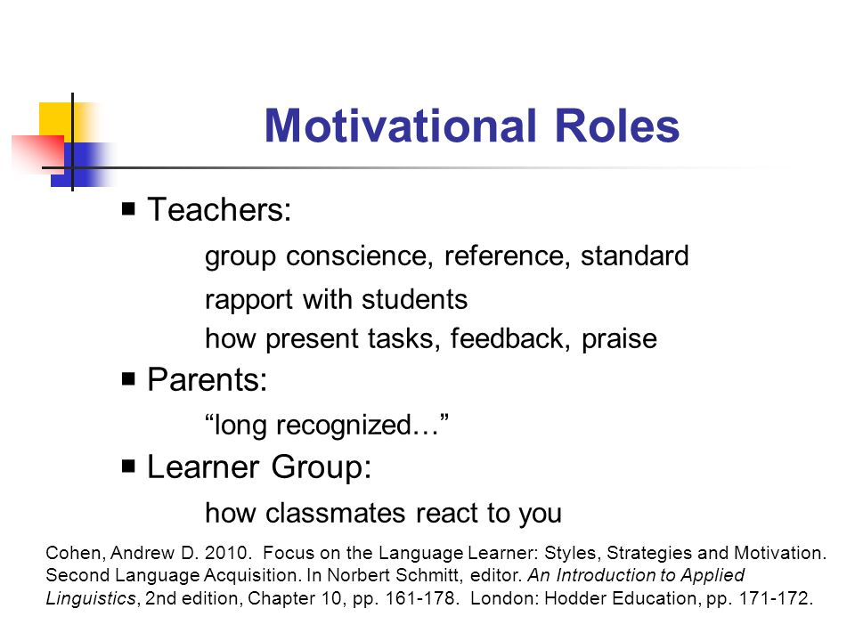 Motivational Roles  Teachers: group conscience, reference, standard rapport with students how present tasks, feedback, praise  Parents: long recognized…  Learner Group: how classmates react to you Cohen, Andrew D.