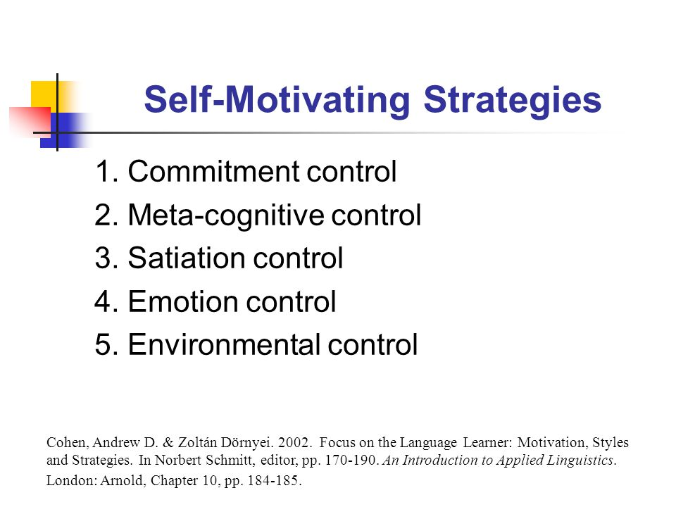 Self-Motivating Strategies 1. Commitment control 2.