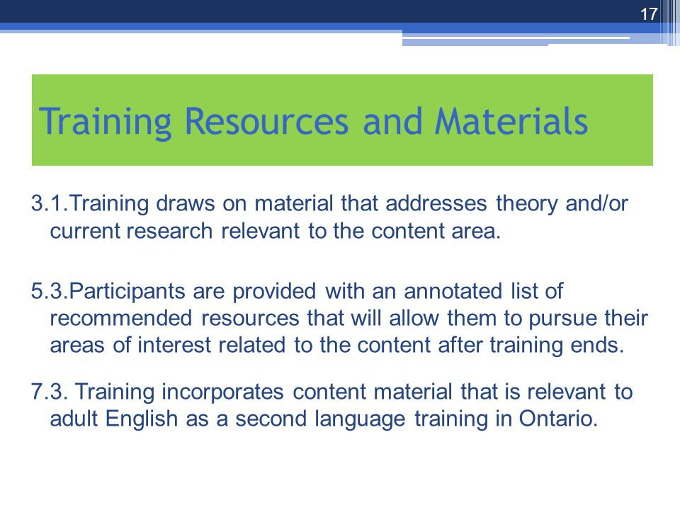 3.1.Training draws on material that addresses theory and/or current research relevant to the content area.