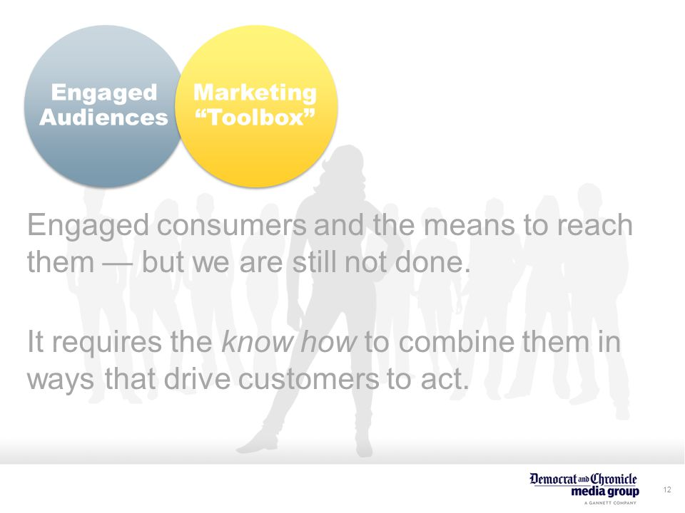 12 Engaged Audiences Engaged consumers and the means to reach them — but we are still not done.