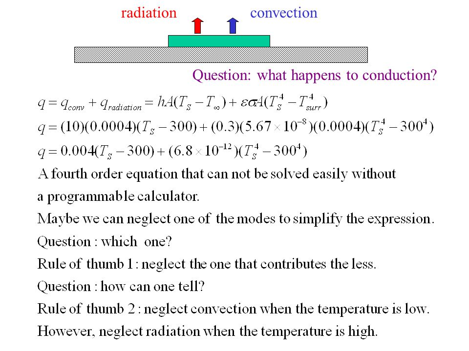 convectionradiation Question: what happens to conduction