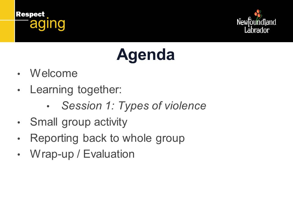 Respect aging Agenda Welcome Learning together: Session 1: Types of violence Small group activity Reporting back to whole group Wrap-up / Evaluation