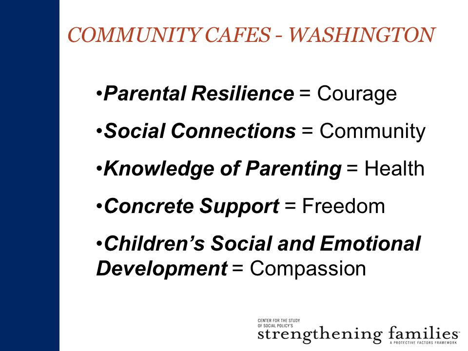 COMMUNITY CAFES - WASHINGTON Parental Resilience = Courage Social Connections = Community Knowledge of Parenting = Health Concrete Support = Freedom Children's Social and Emotional Development = Compassion