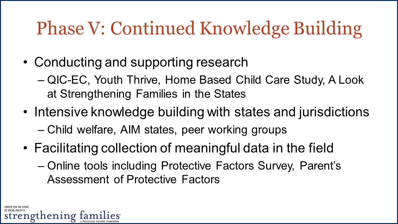Phase V: Continued Knowledge Building Conducting and supporting research –QIC-EC, Youth Thrive, Home Based Child Care Study, A Look at Strengthening Families in the States Intensive knowledge building with states and jurisdictions –Child welfare, AIM states, peer working groups Facilitating collection of meaningful data in the field –Online tools including Protective Factors Survey, Parent's Assessment of Protective Factors