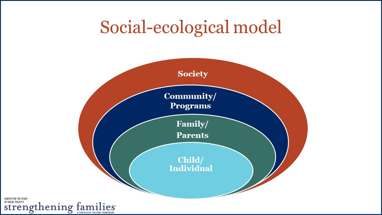 Social-ecological model Society Community/ Programs Family/ Parents Child/ Individual
