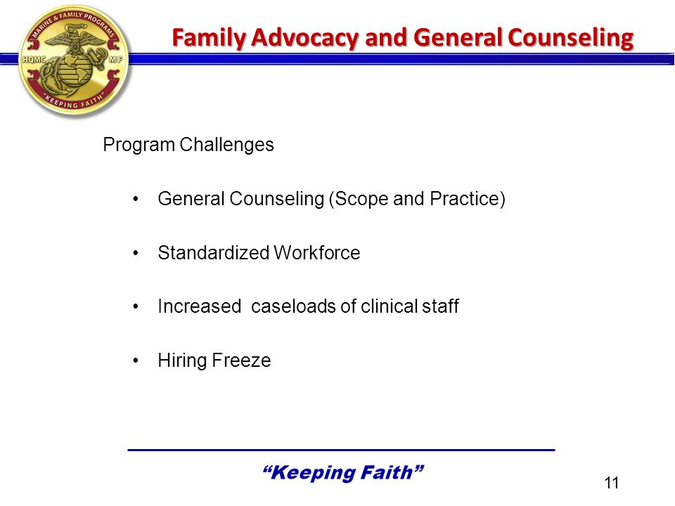 Program Challenges General Counseling (Scope and Practice) Standardized Workforce Increased caseloads of clinical staff Hiring Freeze 11