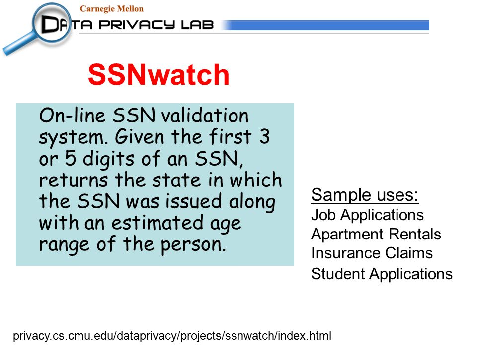 SSNwatch On-line SSN validation system.