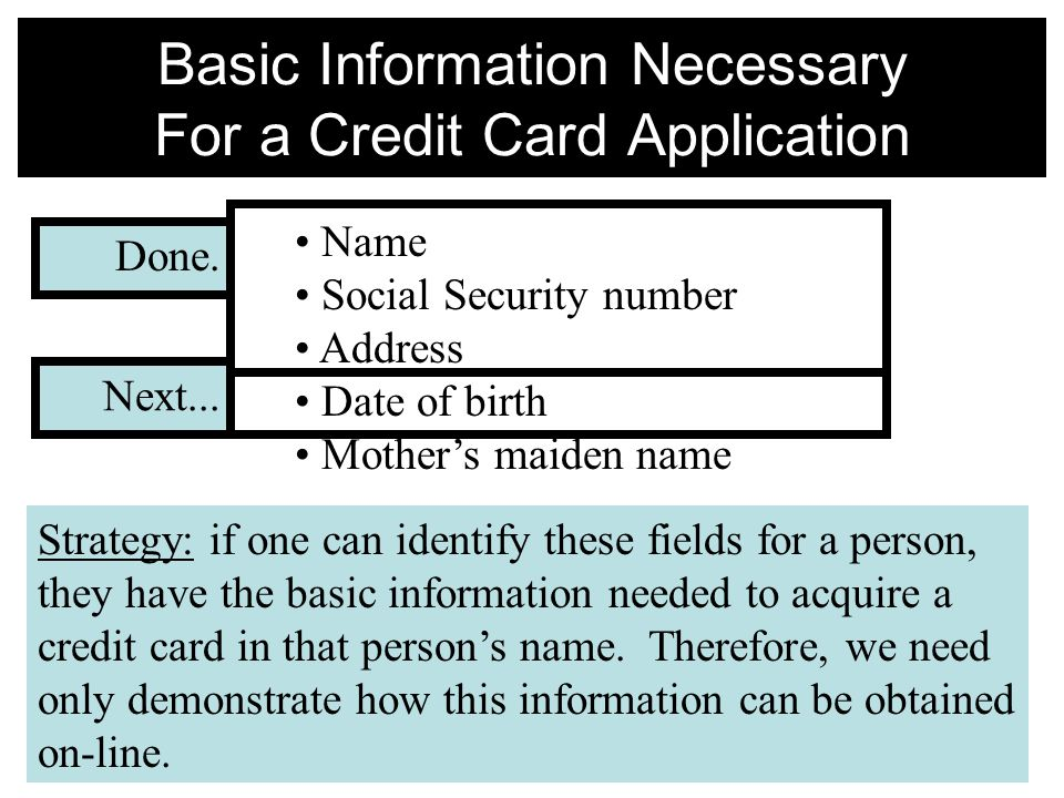 Basic Information Necessary For a Credit Card Application Name Social Security number Address Date of birth Mother's maiden name Strategy: if one can identify these fields for a person, they have the basic information needed to acquire a credit card in that person's name.