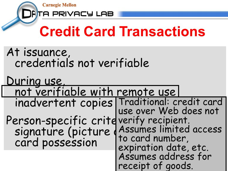 Credit Card Transactions At issuance, credentials not verifiable During use, not verifiable with remote use inadvertent copies of information Person-specific criteria weak: signature (picture or other) matching card possession Traditional: credit card use over Web does not verify recipient.