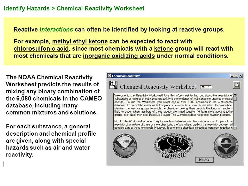 NOAA Chemical Reactivity Worksheet | Greg Reyneke
