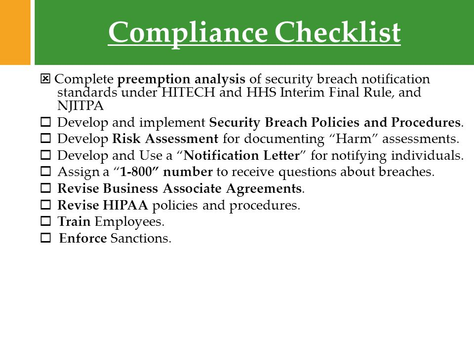 security breach notification 2009 fox rothschild compliance checklist complete preemption analysis of security breach