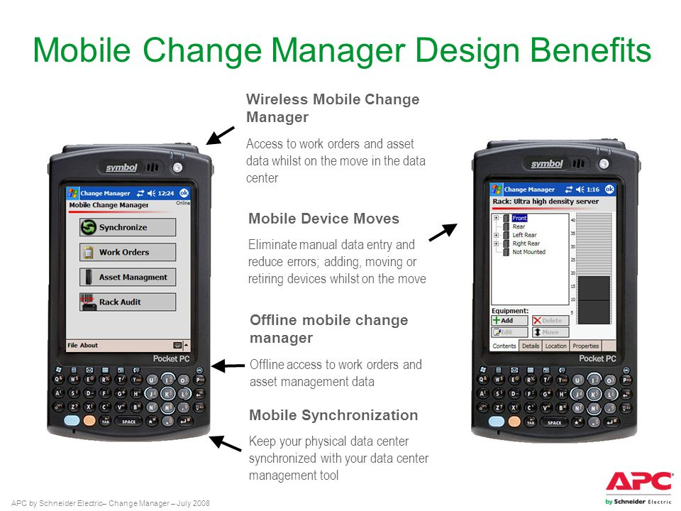 APC by Schneider Electric– Change Manager – July 2008 Mobile Change Manager Design Benefits Mobile Synchronization Keep your physical data center synchronized with your data center management tool Mobile Device Moves Eliminate manual data entry and reduce errors; adding, moving or retiring devices whilst on the move Offline mobile change manager Offline access to work orders and asset management data Wireless Mobile Change Manager Access to work orders and asset data whilst on the move in the data center