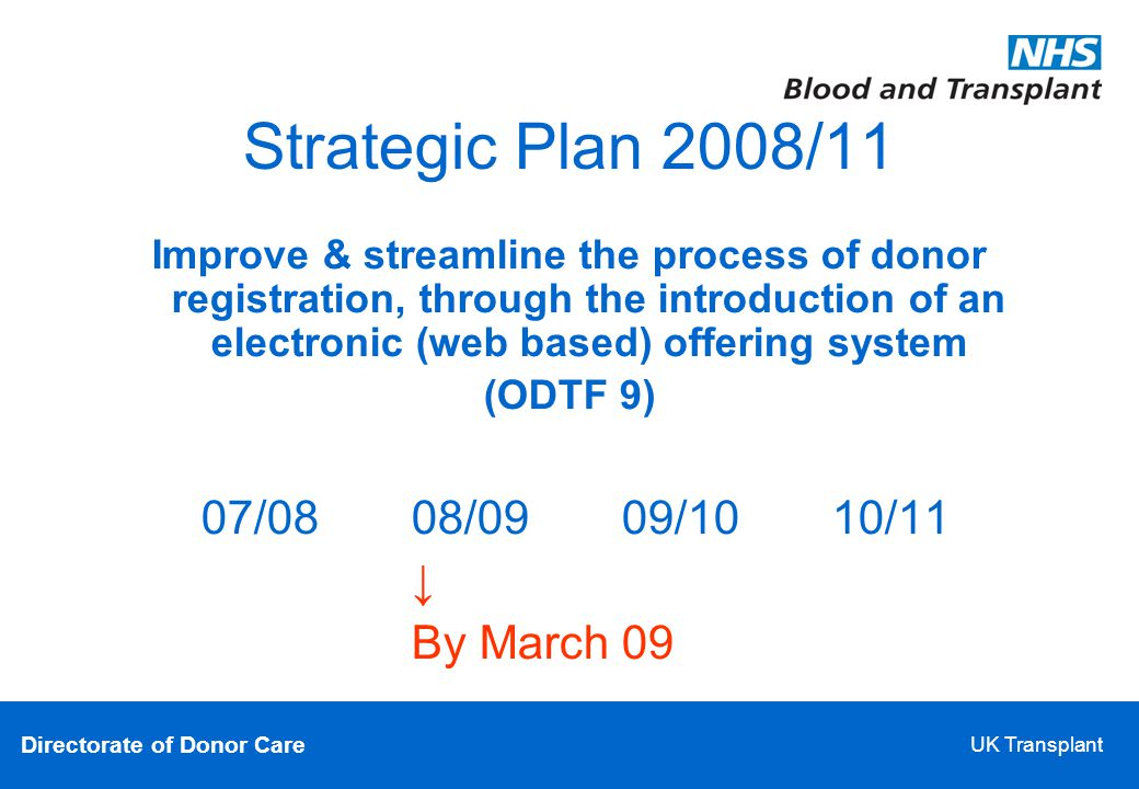 Directorate of Donor Care UK Transplant Strategic Plan 2008/11 Improve & streamline the process of donor registration, through the introduction of an electronic (web based) offering system (ODTF 9)‏ 07/08 08/09 09/10 10/11 ↓ By March 09