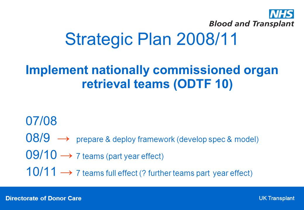 Directorate of Donor Care UK Transplant Strategic Plan 2008/11 Implement nationally commissioned organ retrieval teams (ODTF 10)‏ 07/08 08/9 → prepare & deploy framework (develop spec & model)‏ 09/10 → 7 teams (part year effect)‏ 10/11 → 7 teams full effect (.