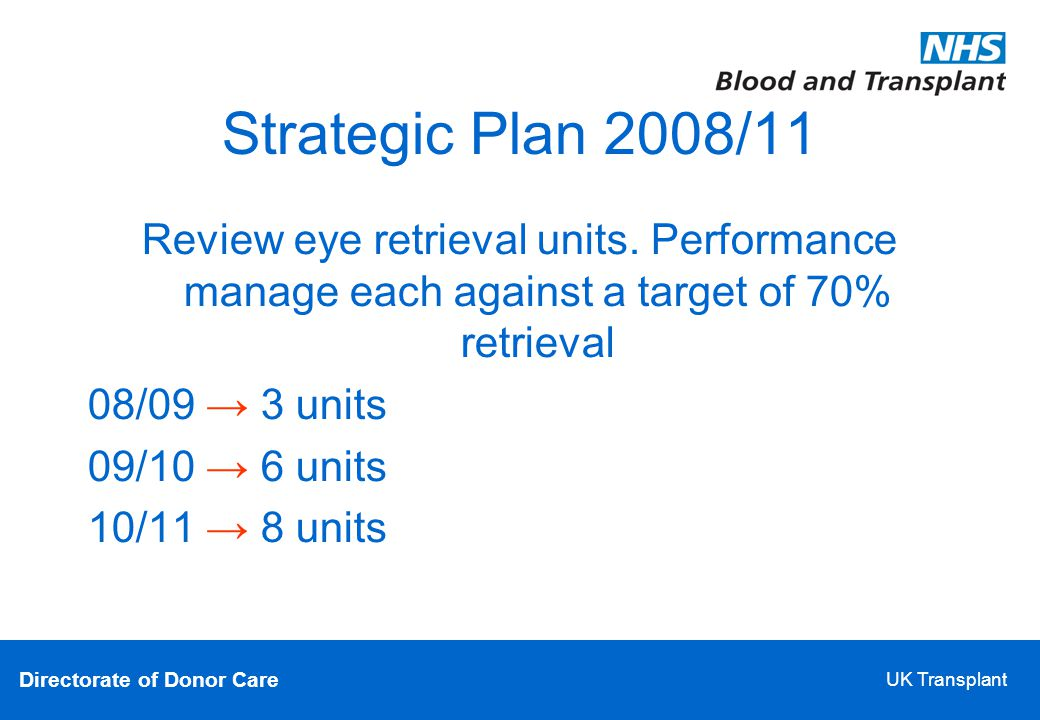 Directorate of Donor Care UK Transplant Strategic Plan 2008/11 Review eye retrieval units.