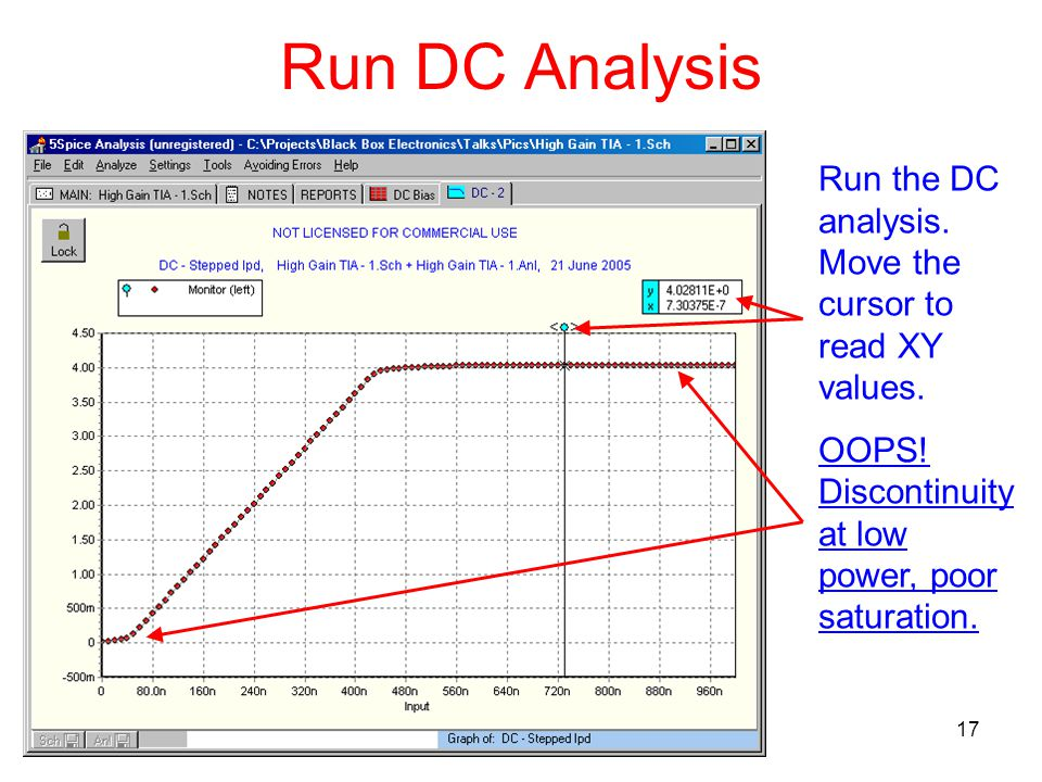 17 Run DC Analysis Run the DC analysis. Move the cursor to read XY values.