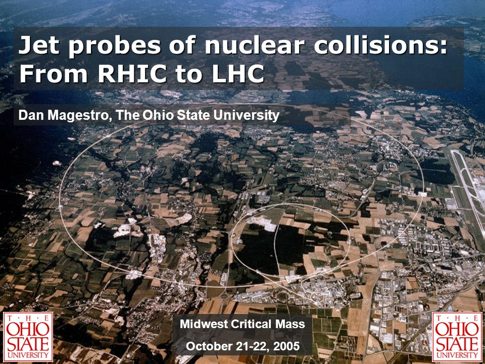 Jet probes of nuclear collisions: From RHIC to LHC Dan Magestro, The Ohio State University Midwest Critical Mass October 21-22, 2005