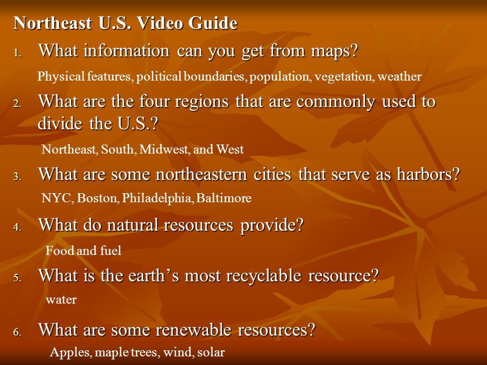 northeast u s video guide 1 what information can you get from maps