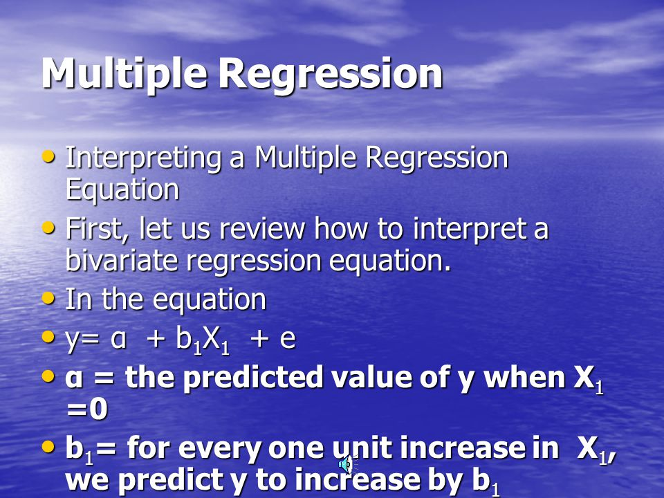 Multiple Regression (2) Multiple regression reduces unexplained variation giving education models increased predictive power and strength they would not otherwise have.