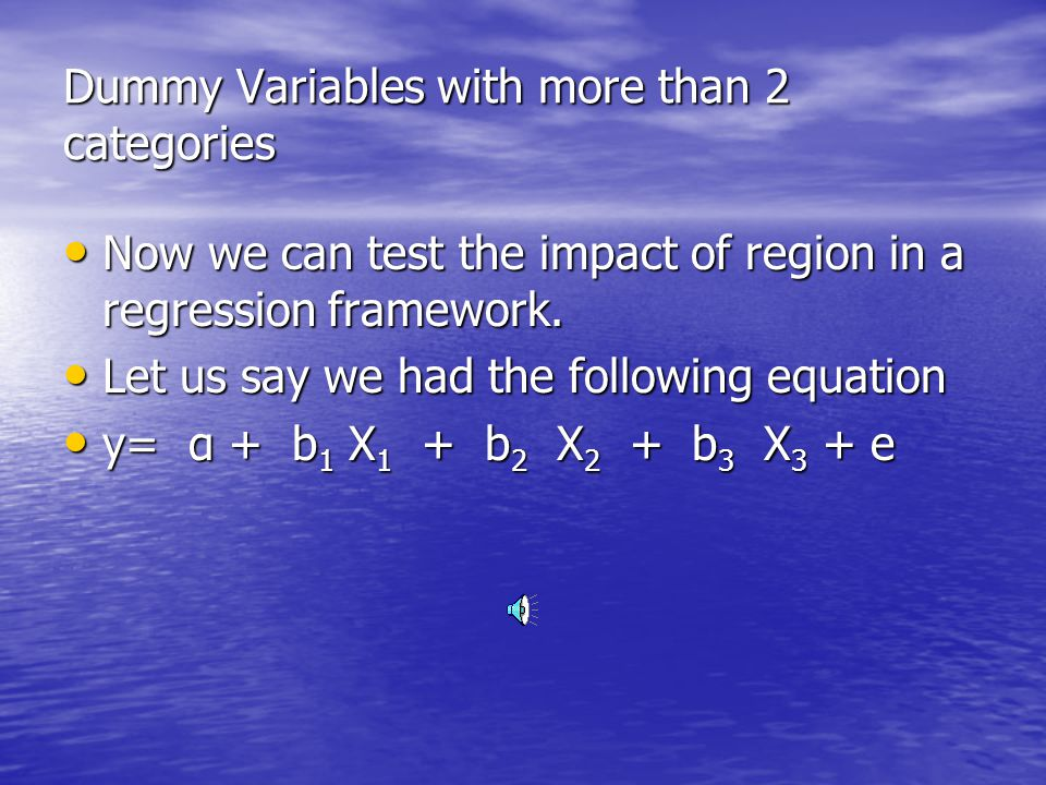Dummy Variables with more than 2 categories How can region be set up for dummy variable regression in SPSS.