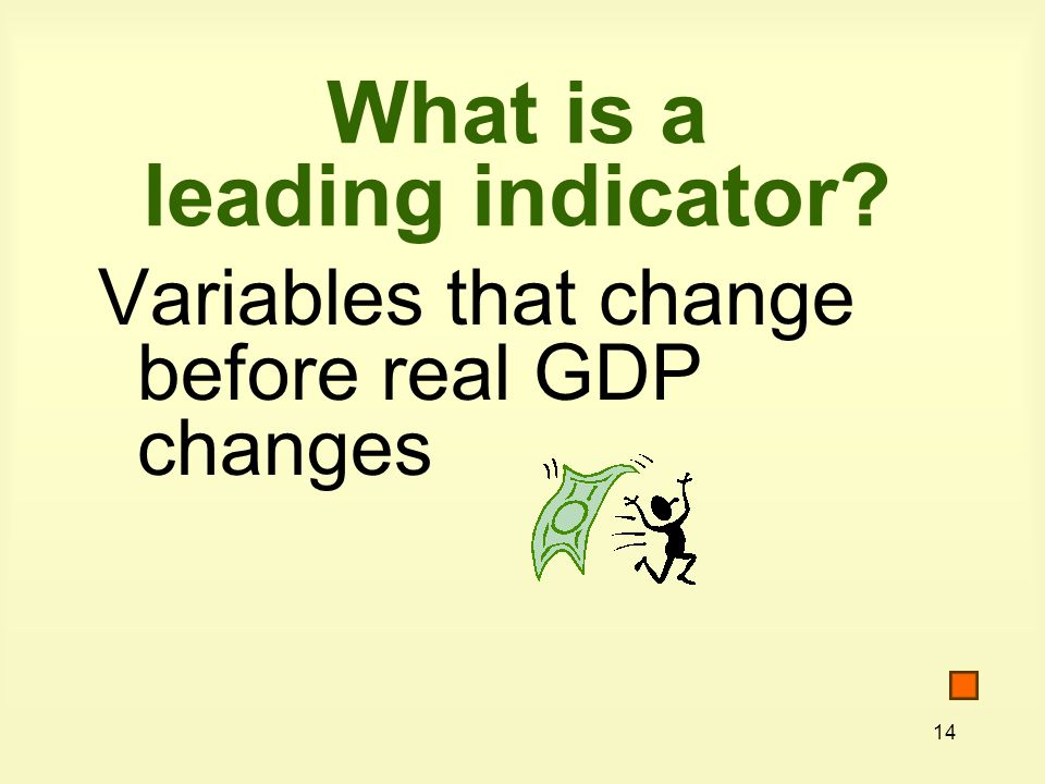 14 What is a leading indicator Variables that change before real GDP changes