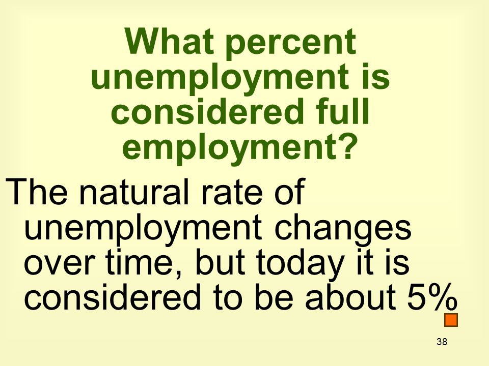 38 What percent unemployment is considered full employment.