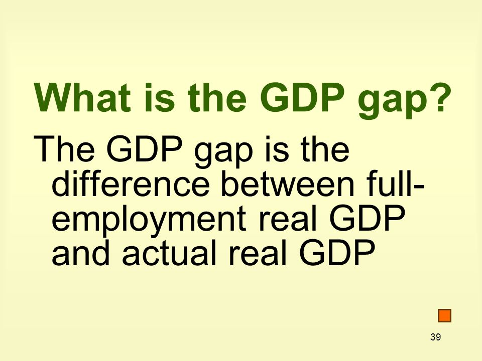 39 What is the GDP gap.
