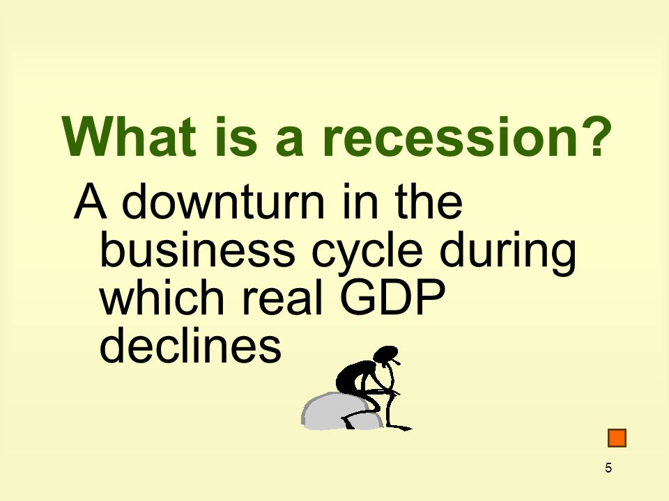 5 What is a recession A downturn in the business cycle during which real GDP declines
