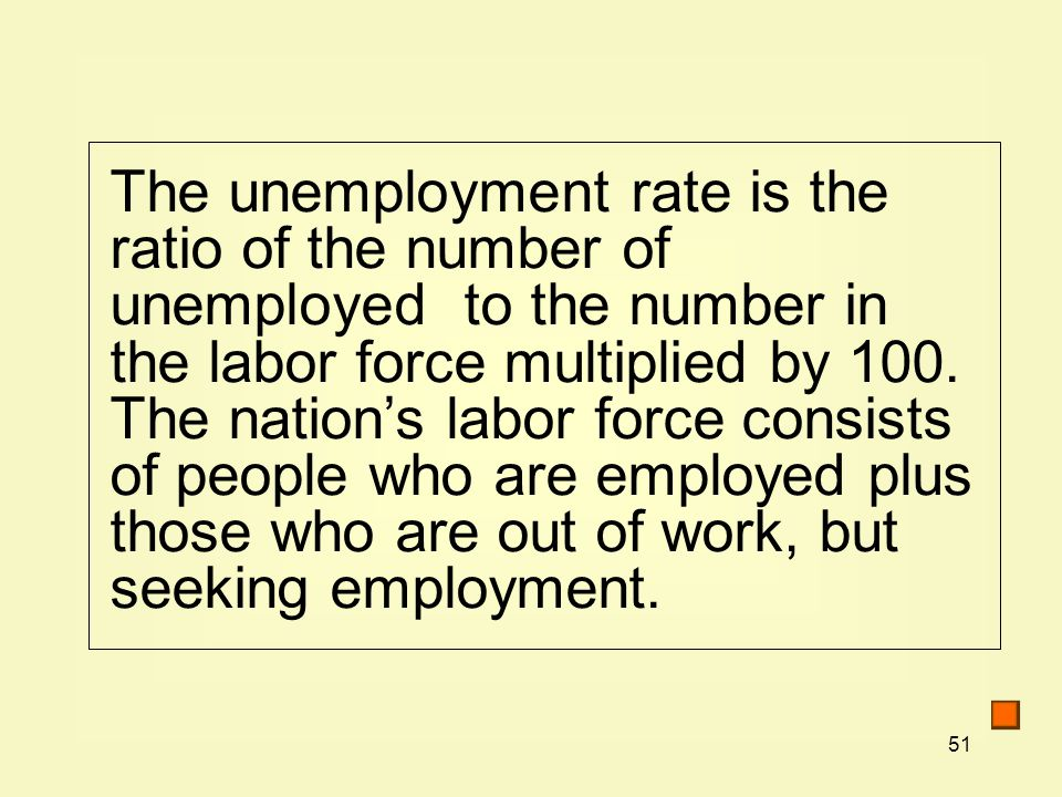 51 The unemployment rate is the ratio of the number of unemployed to the number in the labor force multiplied by 100.
