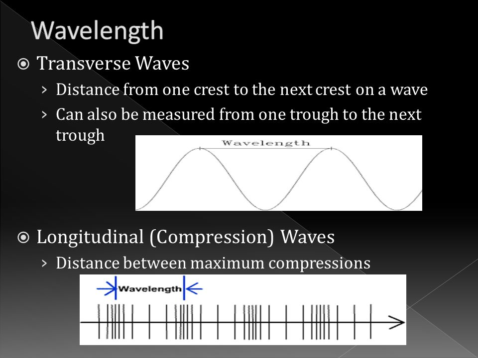  Transverse Waves › Distance from one crest to the next crest on a wave › Can also be measured from one trough to the next trough  Longitudinal (Compression) Waves › Distance between maximum compressions