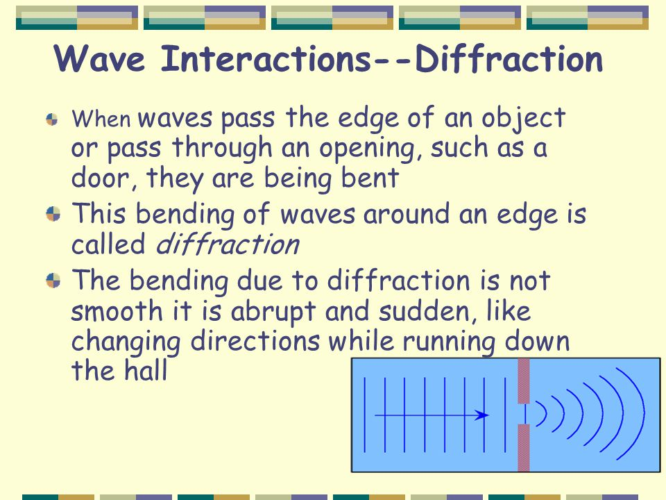 Wave Interactions--Diffraction When waves pass the edge of an object or pass through an opening, such as a door, they are being bent This bending of waves around an edge is called diffraction The bending due to diffraction is not smooth it is abrupt and sudden, like changing directions while running down the hall