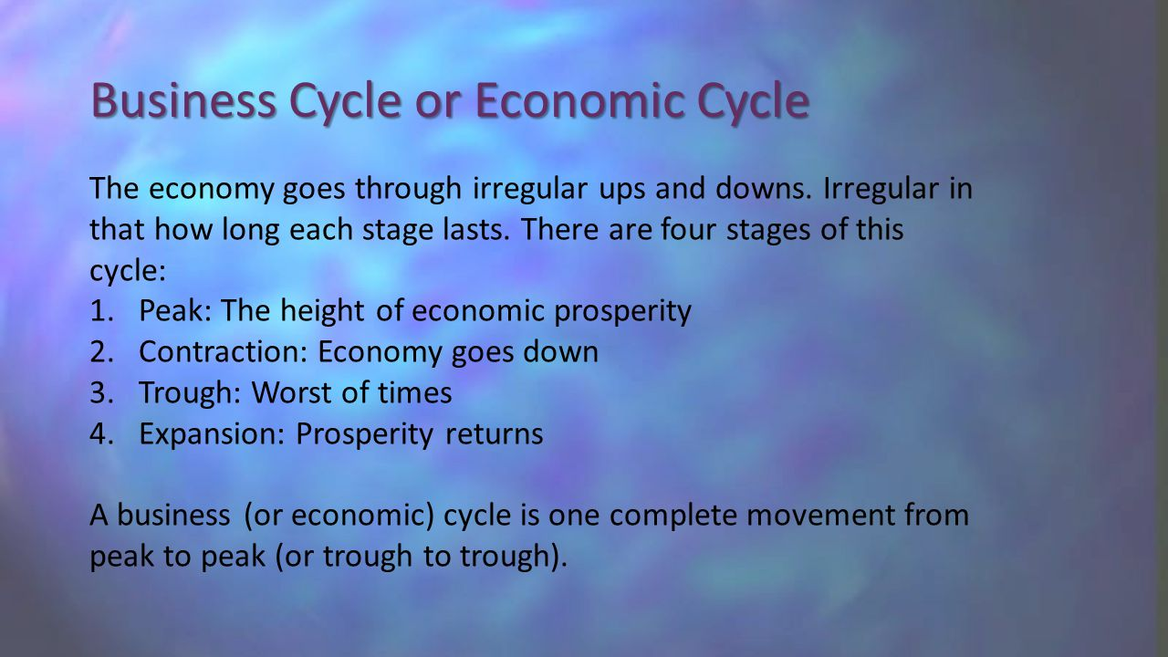 Business Cycle or Economic Cycle The economy goes through irregular ups and downs.